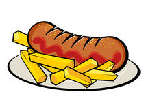 German currywurst with french fries royalty free illustration