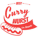 German currywurst. Vintage illustration of german currywurst Royalty Free Stock Photography