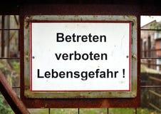 German danger, do not enter signboard stock photo