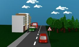 Road with cars between which children run on the street. Royalty Free Stock Image