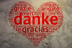 German Danke - Heart shaped word cloud thanks, Grunge Background Royalty Free Stock Images