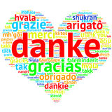 German Danke - Heart shaped word cloud thanks, on white Stock Photos