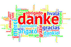 German Danke, Open Word Cloud, Thanks, on white Royalty Free Stock Photos