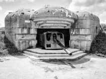 German defense battery at Longues sur Mer, Normandy, France, b&w Stock Photography