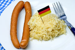 German deli Sauerkraut. With sausage Stock Photos