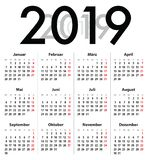 German Deutsch Calendar grid for 2019. MF royalty free stock photo