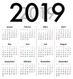 German Deutsch Calendar grid for 2019. MF stock photography