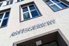 German district court. Lettering at the entrance of a German district court Stock Image