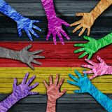 German Diversity People Together. German diversity as diverse hands made of crumpled paper connected together as a concept for europe citizen solidarity and vector illustration