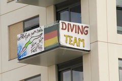 The German Diving Team. Personalise their balcony at the 2012 Olympic Village in London Royalty Free Stock Photo