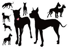 German dog eight silhouettes royalty free illustration