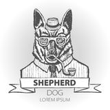 German dog Shepherd hipster smokes a pipe in a headdress Illustration vector Stock Photo