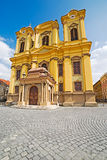 German Dome located on Union Square in Timisoara, Romania. Fish eye view Stock Photos