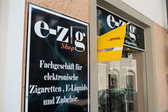 German e-cigarette shop Royalty Free Stock Image