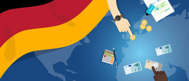 German economy fiscal money trade concept illustration of financial banking budget with flag map and currency Stock Image