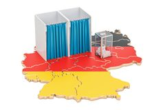 German election concept, ballot box with voting booths on map of. Germany, 3D rendering isolated on white background Royalty Free Stock Photography