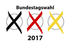 German election 2017. With three crosses Stock Photography