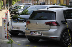 GERMAN ELECTRIC CARS VOLKS WAHEN AND BMW at e.on Royalty Free Stock Images