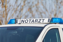 German emergency ambulance NOTARZT car stands on the street Stock Images