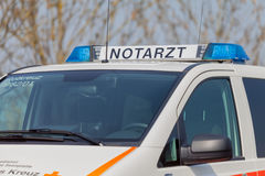 German emergency ambulance (NOTARZT) car stands on the street Royalty Free Stock Photo