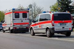 German emergency ambulance NOTARZT car stands on the street Royalty Free Stock Photo