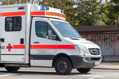 German emergency ambulance vehicle stands on the street Royalty Free Stock Photos