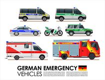 German emergency cars vehicles transport  set. Police car, Fire truck, Ambulance van Emergency cars of Deutsche flat design.  Royalty Free Stock Images