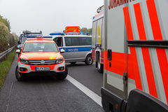 German emergency doctor car stands on freeway Stock Photography