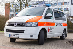 German emergency doctor  notarzt  car stands on a hospital Stock Photo