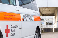 German emergency doctor  notarzt  car stands on a hospital Royalty Free Stock Image