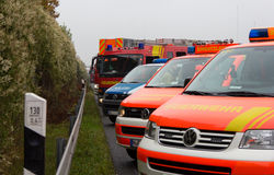 German emergency service cars stands in a row Stock Photo