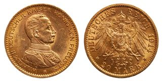 German Empire 20 Mark Wilhelm II Gold 1914 Uniform royalty free stock photos