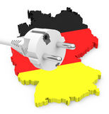 German energy transition. 3d generated picture of a germany silhouette and a power cable vector illustration
