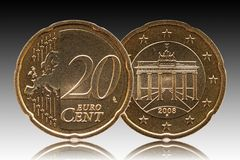 German 20 euro cent Germany coin, front side 20 and europe, backside Brandenburg Gate, background gradient stock photo