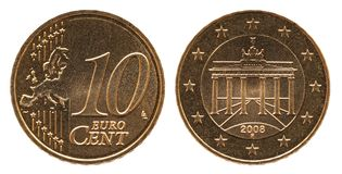 German 10 euro cent Germany coin, front side 10 and europe, backside Brandenburg Gate royalty free stock image