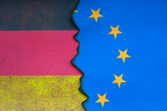 German Euro flag concept. German Euro flag dividing grunge background Royalty Free Stock Photo