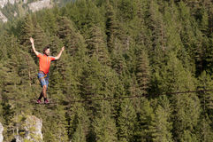 German extreme slackliner Reinhard Kleindl Royalty Free Stock Photo