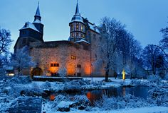 German fairytale castle in winter landscape. Castle Romrod in Hessen, Germany.  stock image