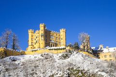 Old castle in the winter forest, Germany stock photo