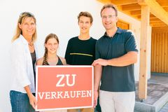 German Family Selling Their House Stock Photo
