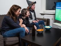 German family is watching football world cup soccer on tv royalty free stock image