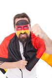 German Fan encouraging his national team,  on white Stock Photos