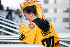 German Fan in Front of Minsk Arena Stock Photography
