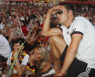 German Fans at crowded terrace during their holidays in Mallorca Royalty Free Stock Photography