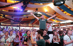 German Fans 036. Germany soccer team supporters spending their holidays at the spanish island of Mallorca meet on local bars to watch European cup match on giant stock photography
