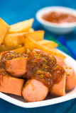 German Fast Food Called Currywurst Royalty Free Stock Photos