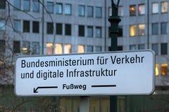 German Federal ministry of traffic sign bonn germany. Bonn, North Rhine-Westphalia/germany - 19 10 18: german Federal ministry of traffic sign bonn germany royalty free stock photo