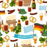 German festival seamless pattern Bavarian Oktoberfest vector Stock Photos