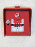 German fire alarm system mount to a white wall Royalty Free Stock Images