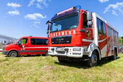 German fire engine from fire department. Delmenhorst / Germany - MAY 6, 2018: German fire engine from fire department Lemwerder stands on a deployment site. The royalty free stock image